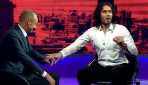 Things get a little heated in the Newsnight studio between Russell Brand and Evan Davis