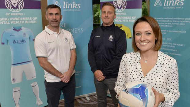 Former Northern Ireland hero Keith Gillespie and ex-Irish League player Ciaran Feehan, now both playing for FC Mindwell, and Laura Wylie from the club's charity partner Links Counselling Service.