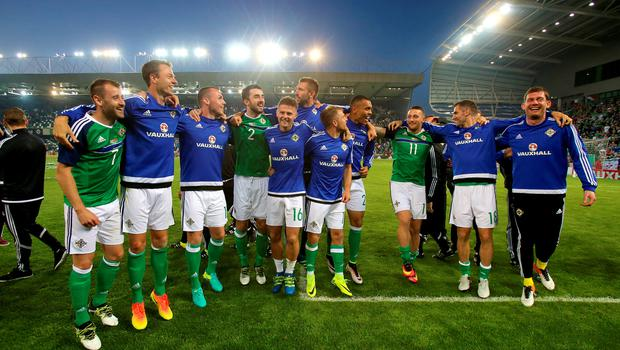 Northern Ireland players during a celebration send-off before the players leave for Euro 2016 after the International Friendly at Windsor Park, Belfast. PRESS ASSOCIATION Photo. Picture date: Friday May 27, 2016. See PA story SOCCER N Ireland. Photo credit should read: Niall Carson/PA Wire. RESTRICTIONS: Editorial use only, No commercial use without prior permission, please contact PA Images for further information: Tel: +44 (0) 115 8447447.
