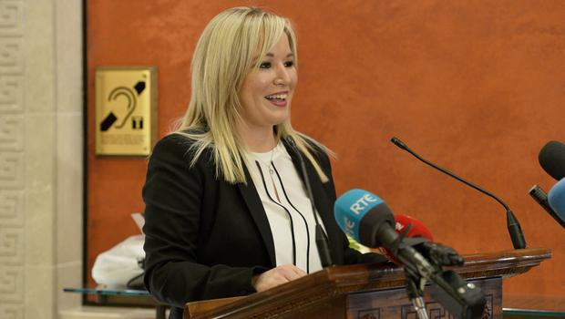 Sinn Féin MLA Michelle ONeill pictured at Stormont as she is announced as the new leader of the party in the north. Photograph by Presseye/ Stephen Hamilton