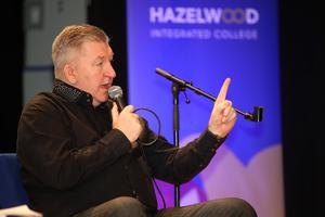 Belfast Telegraph - Norman Whiteside - Visit to Hazelwood College - 4th March 2020 Photograph by Declan Roughan  Norman Whiteside and his wife Denise speaking to students from Hazelwood College.