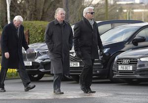 Footballing great Gear Armstrong pictured as they arrive at the church for Barney Eastwood's funeral at Colmcille's Church in Holywood, Co Down.  Friday 13th  March 2020