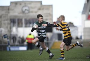 10/3/20: Jamie MacLean of Campbell College in action against RBAI in Medallion Shield Final at the Kingspan. Picture: Robbie Cooper