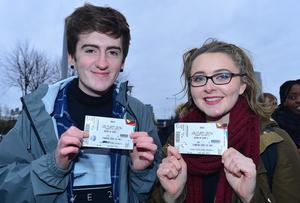 PACEMAKER BELFAST  29/02/2016 Fans of Adele(L-R) Conal Love and Aoife Browne from Belfast patiently waiting to get into the SSE arena in Belfast for this evenings opening night of her World Tour. Picture By: Arthur Allison/Pacemaker Press
