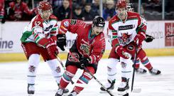 Belfast Giants forward Ben Lake is pursued by Cardiff Devils forwards Matt Pope and Matthew Myers (William Cherry/Presseye)