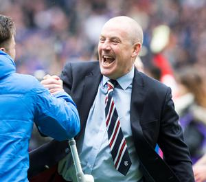 Rangers manager Mark Warburton celebrates victory at the end of the William Hill Scottish Cup semi-final match at Hampden Park, Glasgow. PRESS ASSOCIATION Photo. Picture date: Sunday April 17, 2016. See PA story SOCCER Rangers. Photo credit should read: Jeff Holmes/PA Wire. EDITORIAL USE ONLY