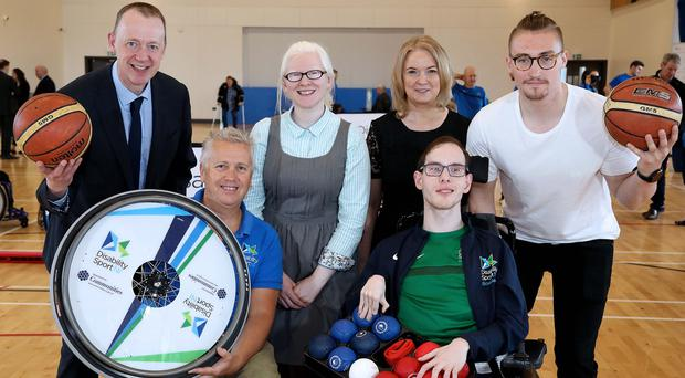 Pictured at the launch of Disability Sport NI and Progressive Building Society's new partnership are (back row, from left) Kevin O'Neill, chief executive officer Disability Sport NI; Kelly Gallagher MBE; Darina Armstrong, Progressive chief executive; and Northern Ireland wheelchair basketball player Ross Davidson; (front row, from left) Aubrey Bingham, Community Sport Manager; and William Graham, NI Boccia player (Darren Kidd/PressEye)