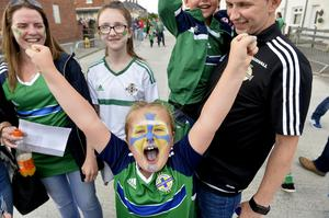 Press Eye - Belfast - Northern Ireland 2nd  June  2017 - Picture by Stephen Hamilton / Press Eye. Friendly International match between Northern Ireland and New Zealand at the National Stadium in Belfast.  Northern Ireland fans pictured ahead of tonights game