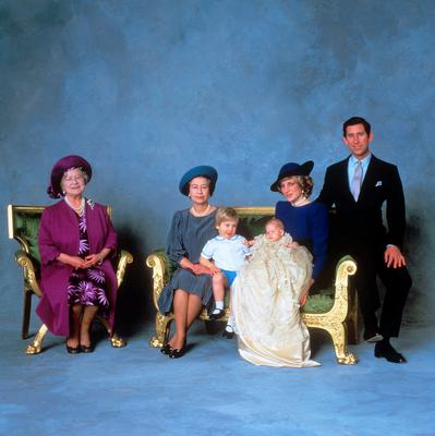 File photo dated 21/12/84 of (left to right) the Queen Mother, Queen Elizabeth II, Prince William, Prince Harry and the Prince and Princess of Wales after the christening ceremony of Prince Harry as the Queen turns 90 on the April 21st. PRESS ASSOCIATION Photo. Issue date: Sunday April 3, 2016. See PA story ROYAL Birthday. Photo credit should read: PA Wire