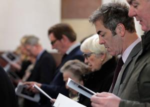 Brian Kennedy performs at the funeral of Belfast-born actor Jimmy Ellis at St Mark's Church on east Belfast's Holywood Road
