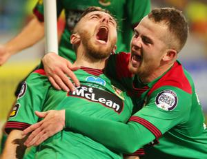 Glentoran's Robbie McDaid celebrates scoring the winning goal in the Irish Cup final.