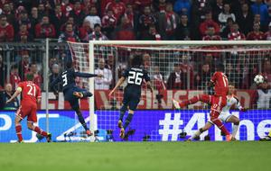 MUNICH, GERMANY - APRIL 09:  Patrice Evra of Manchester United scores his goal during the UEFA Champions League Quarter Final second leg match between FC Bayern Muenchen and Manchester United at Allianz Arena on April 9, 2014 in Munich, Germany.  (Photo by Lars Baron/Bongarts/Getty Images)