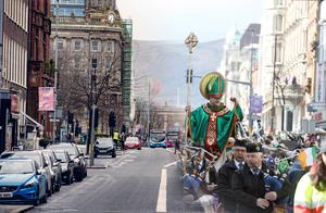 Composite image from 2020 and 2019 in Belfast as St Patrick's celebrations are cancelled amid COVID-19 fears on March 17th 2020 (Photo by Kevin Scott for Belfast Telegraph)
