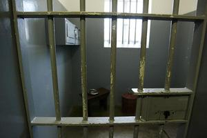 """CAPE TOWN, SOUTH AFRICA - NOVEMBER 28:  The former prison cell of Nelson Mandela is seen on November 28, 2003 on Robben Island, off the coast of Cape Town, South Africa.. Nelson Mandela held a press conference today for """"46664 - Give One Minute of Your Life to AIDS"""". The concert will take place at Greenpoint Stadium on November 29, 2003 and will benefit the Nelson Mandela Foundation and the fight against AIDS in Africa. Artists performing will include Bono, Queen, Peter Gabriel, The Eurythmics, Beyonce, Youssou N'Dour, and many other international and African musicians. It will be one of the biggest rock events ever staged in Africa and will also be the most widely distributed media event in history with a potential audience of more than 2 billion people in 166 countries.    (Photo by Frank Micelotta/Getty Images)"""