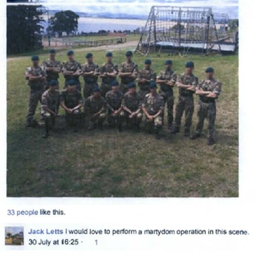 Jack Letts's comment on a Facebook photo of a group of British Army soldiers (Counter Terrorism Policing South East/PA)