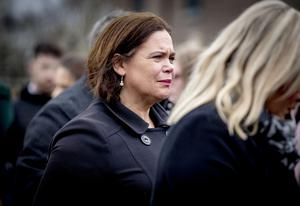 Sinn Fein Mary Lou McDonald and Michelle O'Neill at the funeral of Lauren Bullock takes place St Patrick's Church, Donaghmore on March 22nd 2019 following a crushing incident at the Greenvale Hotel in Cookstown (Photo by Kevin Scott for Belfast Telegraph)