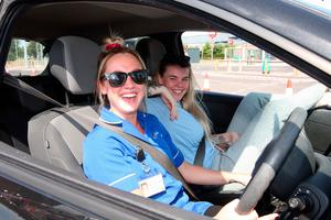 Carers Laurel May and Beth Leckey wait in Newtownards
