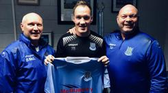Albert Watson with David Jeffrey and Brian McLaughlin. Credit: Ballymena United.
