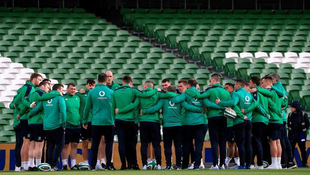 Ireland players before during the Guinness Six Nations match at the Aviva Stadium, Dublin. Donall Farmer/PA Wire.