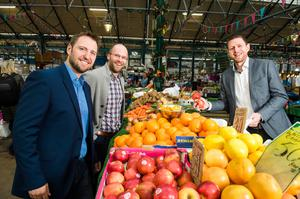 Roger Busby; Manager Deloitte Digital, Mike Robinson; CTO Deloitte Digital and Gareth Quinn; Director Digital DNA at St Georges Market Belfast, venue for DDNA 2016. Picture: Elaine Hill