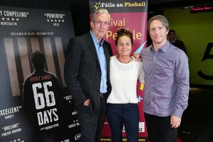 Press Eye Belfast - Northern Ireland - 31st July 2016    Laurence McKeown, Michelle Beyers and Lachlan Whalen are pictured at the film premiere of Bobby Sands: 66 Days at the Omniplex Cinema at the Kennedy Centre in west Belfast.  The premiere was hosted with Féile An Phobail and West Belfast Film Festival.  Photo by Kelvin Boyes  / Press Eye