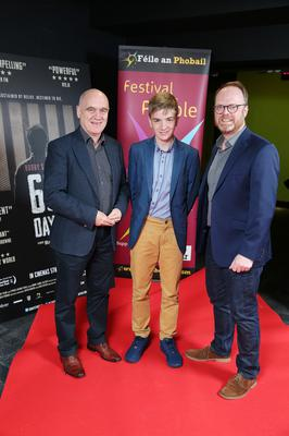 Press Eye Belfast - Northern Ireland - 31st July 2016    Denzil McDaniel, David McDaniel and Trevor Birney are pictured at the film premiere of Bobby Sands: 66 Days at the Omniplex Cinema at the Kennedy Centre in west Belfast.  The premiere was hosted with Féile An Phobail and West Belfast Film Festival.  Photo by Kelvin Boyes  / Press Eye