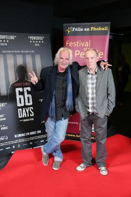 Press Eye Belfast - Northern Ireland - 31st July 2016    Danny Devenny and Paddy Molloy are pictured at the film premiere of Bobby Sands: 66 Days at the Omniplex Cinema at the Kennedy Centre in west Belfast.  The premiere was hosted with Féile An Phobail and West Belfast Film Festival.  Photo by Kelvin Boyes  / Press Eye