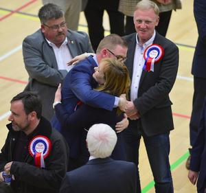 Pacemaker Press Belfast 06-05-2016: NI Assembly election: North Down & Strangford counts in Aurora Leisure Complex in Bangor. The process of counting votes in the Northern Ireland Assembly election has begun. Michelle McIlveen, DUP pictured after being elected, reaching the quota for election on the first count.   Picture By: Arthur Allison.