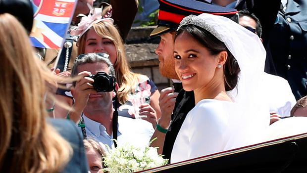Prince Harry and Meghan Markle leave St George's Chapel in Windsor Castle after their wedding. PRESS ASSOCIATION Photo. Picture date: Saturday May 19, 2018. See PA story ROYAL Wedding. Photo credit should read: Chris Radburn/PA Wire