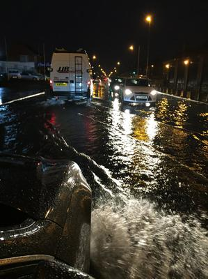 Flooding on Ladas Drive in Belfast on Thursday evening. Pic Pacemaker