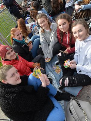 PACEMAKER BELFAST  20/10/2015  One DirectionÕs current On The Road Again world tour hits Belfast. Harry Styles, Liam Payne, Louis Tomlinson and MullingarÕs own Niall Horan will take to the stage at the SSE Arena in Belfast from Tuesday 20 Ð Thursday 22 October 2015. Fans (L-R) Jodie McInally (Belfast) Marie Hafele(Austria)Anna Schekulin(Austria)Megan Cooling(Londonderry) Amy Bond(Londonderry) and Emma Simpson(Londonderry) pictured outside the SSE Arena in Belfast for the first of 3 concerts tonight. Picture By: Pacemaker Press