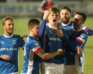 Linfield v Crusaders Co Antrim Shield Final. Linfield's Cameron Stewart pictured after scoring his teams 1st goal during the final at warden Street in Ballymena. Picture By: /Pacemaker Press