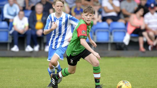 1st August 2019  Statsports Supercup NI 2019  Minor section semi final  match between Glentoran and Finn Harps at Seahaven in Portstewart. Glentorans Jude Johnson  Mandatory Credit : Stephen  Hamilton/Presseye