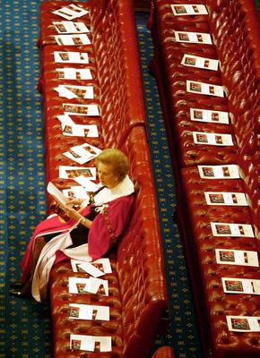 File photo dated 04/05/2000 of former Prime Minister Baroness Thatcher sitting alone as she waits for the start of the State Opening of Parliament at the Palace of Westminster in London. Baroness Thatcher died this morning following a stroke, her spokesman Lord Bell said. PRESS ASSOCIATION Photo. Issue date: Monday April 8, 2013. See PA story DEATH Thatcher. Photo credit should read: PA Wire