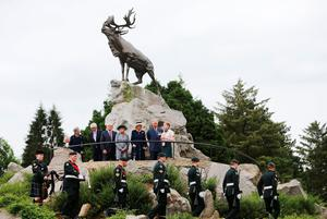 The Prince of Wales and the Duchess of Cornwall are given a tour at Beaumont-Hamel, France, following a Ceremony of Remembrance, hosted by the Government of Canada to mark the 100th anniversary of the start of the battle of the Somme. PRESS ASSOCIATION Photo. Picture date: Friday July 1, 2016. See PA story HERITAGE Somme. Photo credit should read: Niall Carson/PA Wire