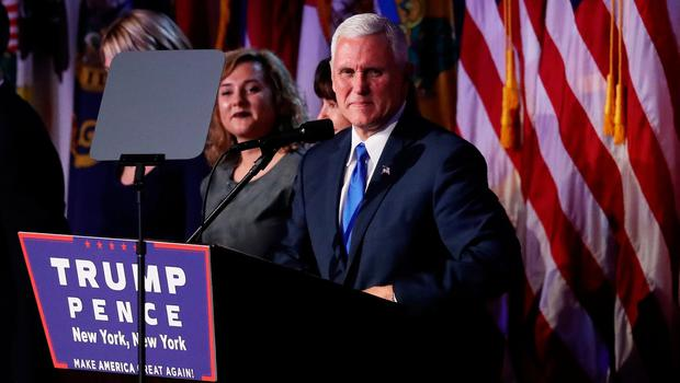 NEW YORK, NY - NOVEMBER 09:  Vice president-elect Mike Pence (C) speaks to supporters at Republican president-elect Donald Trump's election night event at the New York Hilton Midtown in the early morning hours of November 9, 2016 in New York City. Donald Trump defeated Democratic presidential nominee Hillary Clinton to become the 45th president of the United States.  (Photo by Joe Raedle/Getty Images)