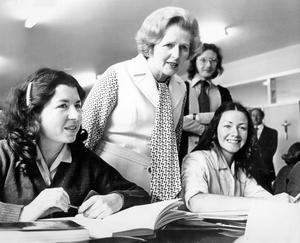 Former Prime Minister Margaret Thatcher. Visit to Northern Ireland. Mrs Thatcher talks to Siobhan O'Hars (left) and Katherine O'Hare during her visit to Rathmore Grammar School, Finaghy.  19/6/1978 BELFAST TELEGRAPH ARCHIVE