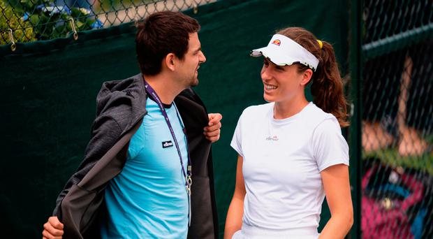 Chill time: Great Britain ace Johanna Konta with her boyfriend Jackson Wade ahead of a practice session at Wimbledon