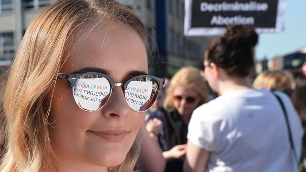 Pacemaker Press 28/05/2018 Maeve McGaughey  attends  a rally organised by Campaign group Solidarity with Repeal,  for abortion rights in Northern Ireland at Belfast City Hall on Monday. The  Republic of Ireland  overwhelmingly voted to overturn the country's abortion ban in a landmark referendum on Friday. Pic Colm Lenaghan/Pacemaker