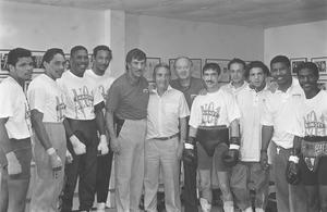 John Breen with the Barney Eastwood and his gym of champions in the 1990s