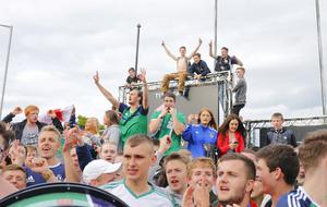 Pictured is Northern Ireland fans on the streets close to the Titanic Slipways in Belfast  as Northern Ireland take on Germany during Euro 2016 game in Paris.  ( Photo by Kevin Scott / Presseye)