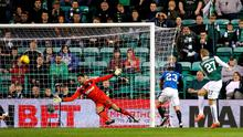 Hibernian's Niklas Gunnarsson scores his side's third goal of the game during the Scottish Championship match at Easter Road