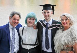 Graduating from Ulster University today 05/07/18 at the Waterfront Hall is Liam LeStrange with a degree in Software Engineering Liam is pictured with Paul, Lauren and Rosemary LeStrange Photo by Simon Graham Photography