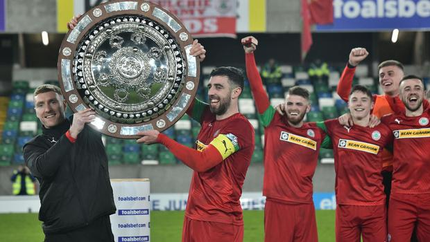 PACEMAKER BELFAST 21/01/2020 Cliftonville v Ballymena County Antrim Shield Final Cliftonville's  Joe Gormley and Chris Curran     celebrates  winning the Co Antrim Shield Final this evening at Windsor Park in Belfast. Photo Colm Lenaghan/Pacemaker Press