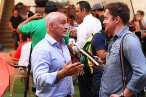 Press Eye - Belfast -  Northern Ireland - 15th July 2015 - Barry McGuigan (left) is pictured speaking to media during an open training session in El Paso, Texas before Carl Frampton defends his IBF World title against Alejandro Gonzalez Jr on Saturday evening.  Picture by Jorge Salgado / Press Eye