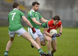 """4th May 2013 """"Together For Sam"""" Fundraising G.A.A. Match between Fermanagh and Mayo at Brewster Park, Enniskillen Mayos Lee Keegan and Fermanaghs Shay Culen with Niall Elroy in action at Saturday Nights Game."""