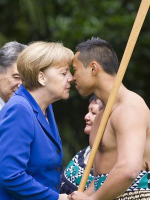 Chancellor Of Germany Angela Merkel receives a Welcome Ceremony at Government House Auckland during her visit to New Zealand on November 14, 2014 in Auckland, New Zealand.   (Photo by Jason Dorday/Getty Images)