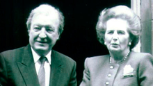 Margaret Thatcher and Charlie Haughey outside Downing Street in 1990