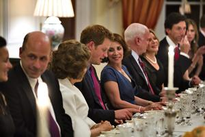 WASHINGTON, DC - MAY 09:  (L-R) Teresa Heinz, HRH Prince Harry and Lady Westmacott attend a dinner at the British Ambassador's residence on May 9, 2013 in Washington,DC. (Photo by Jim Lo Scalzo - Pool/ Getty Images)