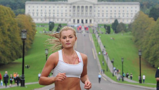 Tiffany Brien, former miss Northern Ireland,  in the 10k race of Belfast Telegraph Runher Stormont Series